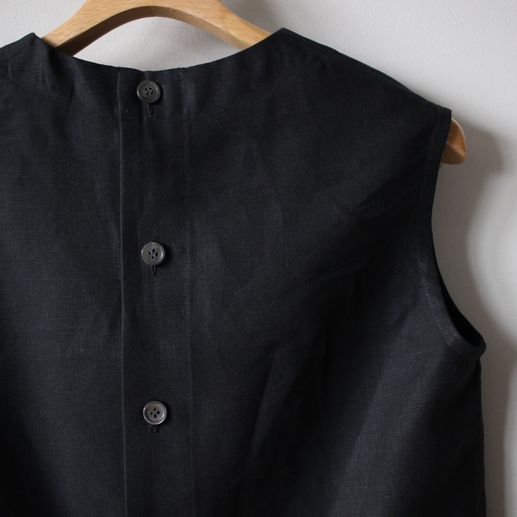 LINEN NO SLEEVE SHIRT #black