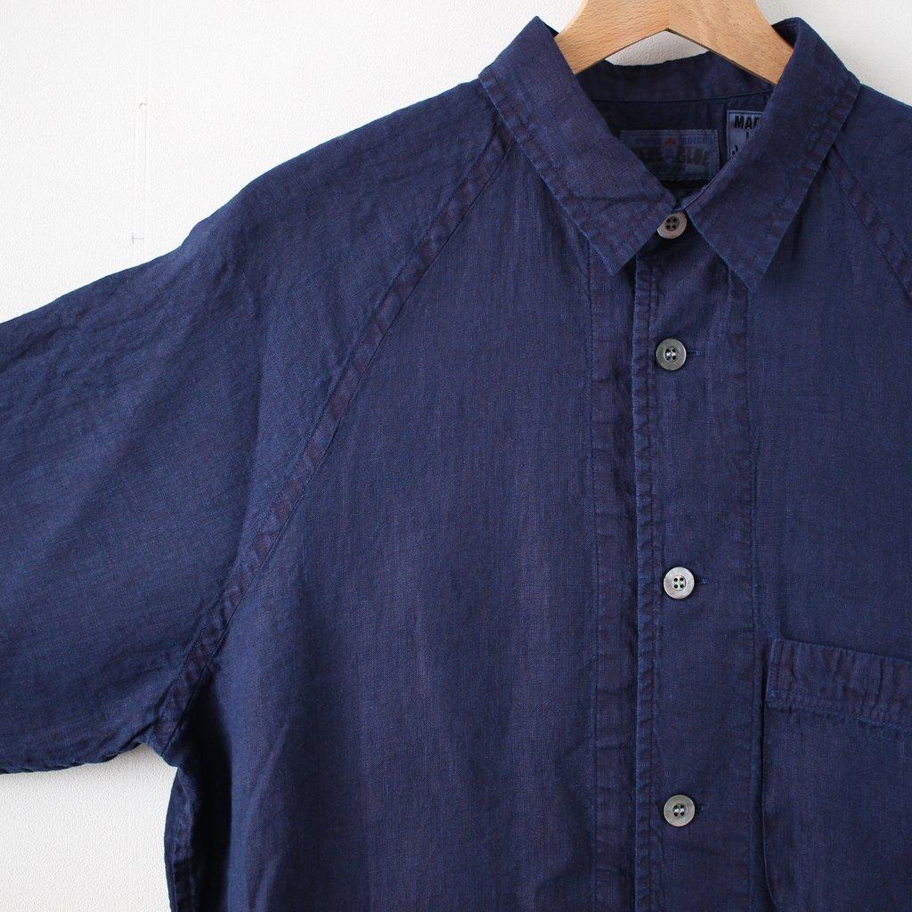 リネンテゾメスモールカラーワイドスリーブシャツ #indigo