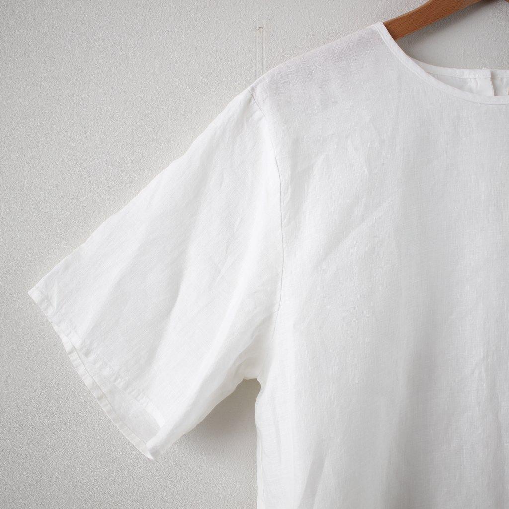 リネンボックスプルオーバー SS シャツ #white