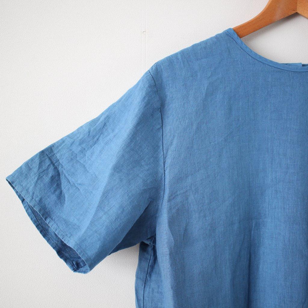 リネンテゾメボックスプルオーバー SS シャツ #blue