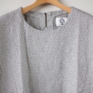 刺し子織りショートスリーブプルオーバーシャツ #white