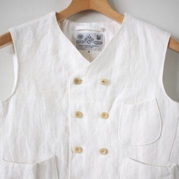 CANVAS LINEN W BUTTON VEST #bleach white
