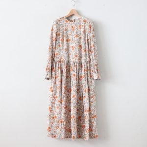 末摘花のGATHER ONE-PIECE DRESS #オレンジ [TLF-220-op009-j]