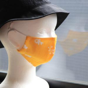 伊勢木綿の生地を使ってマスクを作りました