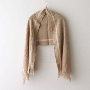 WOOL CLOTH MUFFLER #BEIGE×WHITE [no.4542]
