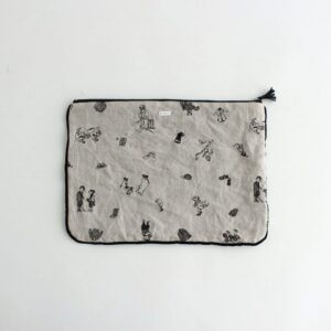 B.S EMBROIDERY LINEN POUCH L #FLAX [no.4558]