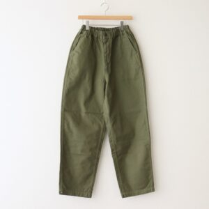 LOOSE TROUSERS FRENCH WORKER SERGE #MILITARY GREEN [A12013]